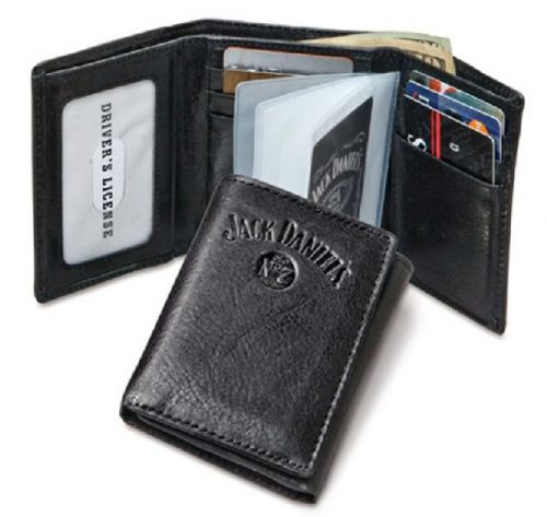JD Black Leather Trifold